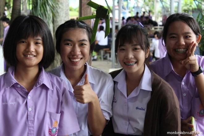 Học sinh trung học ở Thái Lan.
