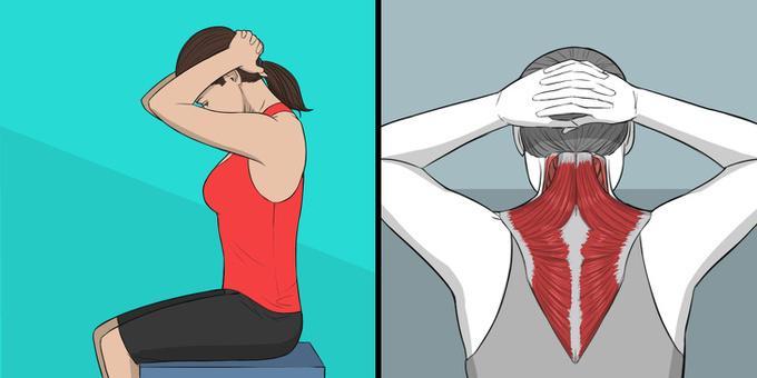 Bài tập giúp phần cơ ở phía sau cổ với vùng lưng trên có thể căng duỗi hết mức có thể