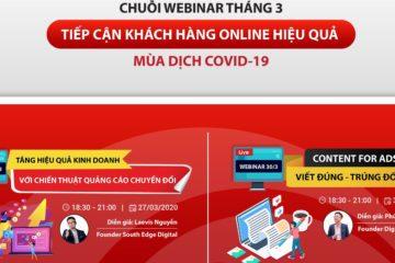 Chuỗi webinar tháng 3 do Mắt bão tổ chức vào ngày 27 và 30 tháng 3 mang chủ đề kinh doanh online mùa Covid 19