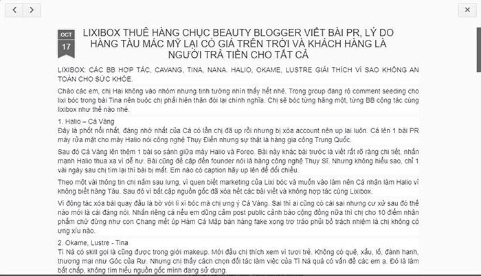 Thực hư Lixibox thuê các beauty blogger nổi tiếng viết bài PR?